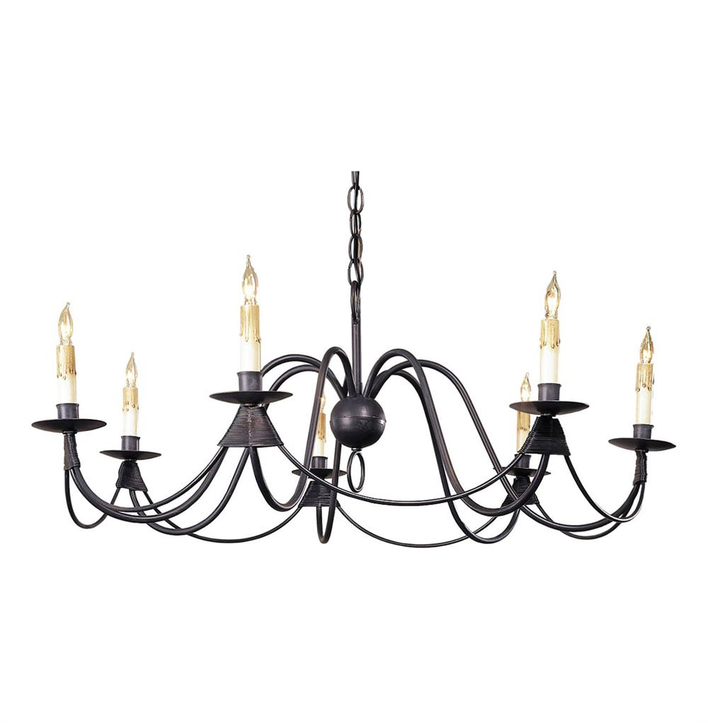 Ruther Nouveau Black Iron Low Profile 7 Light Chandelier