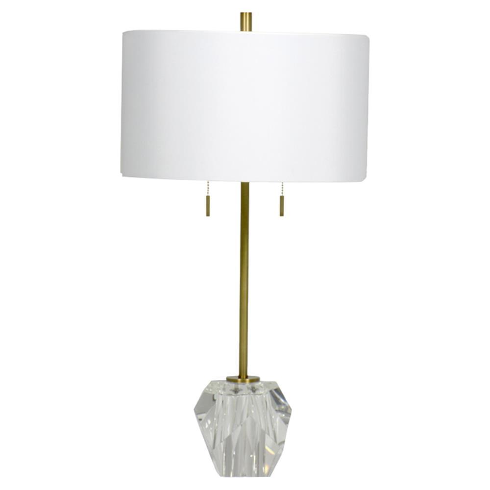 Gavin Modern Classic White Shade Crystal Base Table Lamp Kathy Kuo