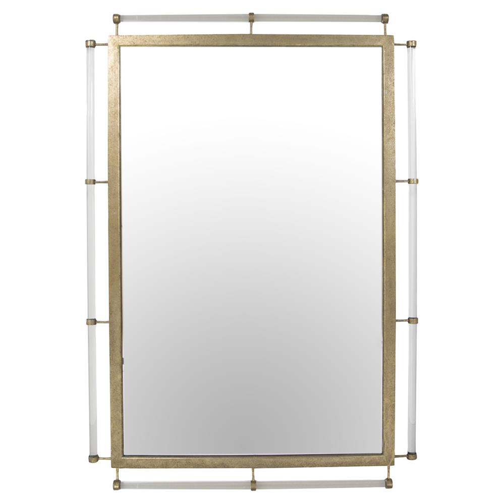 Dylan Modern Classic Clear Acrylic Rod Gold Metal Frame Mirror