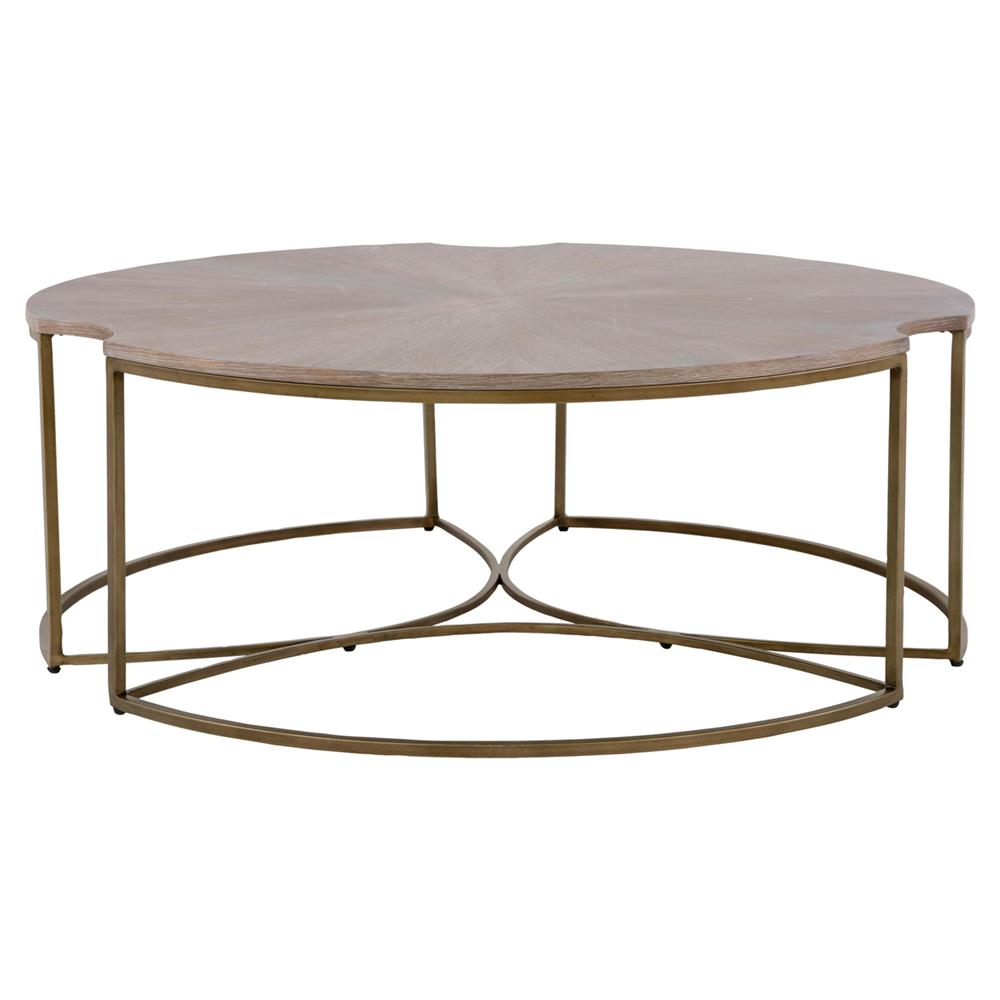 Zachary Modern Classic Cerused Oak Top Gold Metal Base Round Coffee Table |  Kathy Kuo Home ...