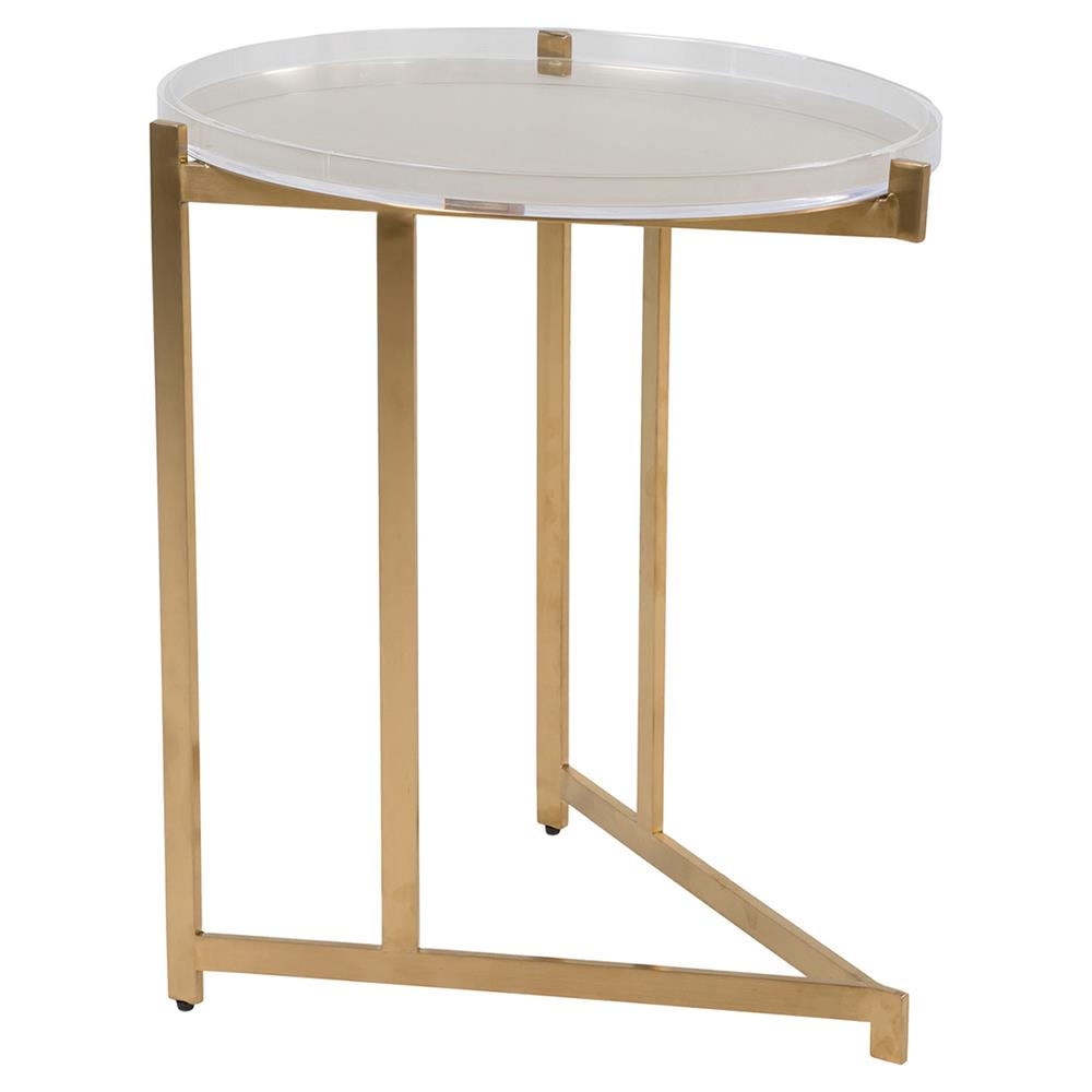 Sean Modern Clic Clear Acrylic Gold Frame Tray Side Table Kathy Kuo Home