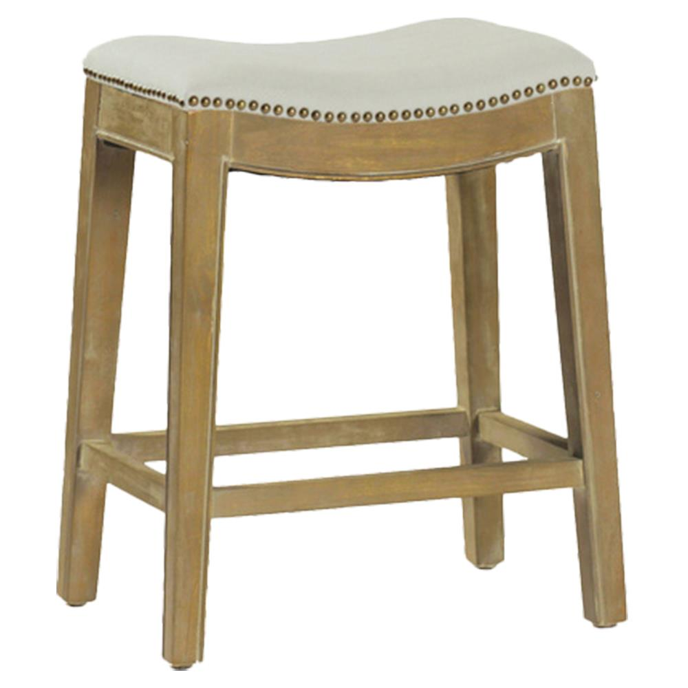 Vera Modern Clic Performance Fabric Linen Natural Oak Backless Counter Stool Kathy Kuo Home