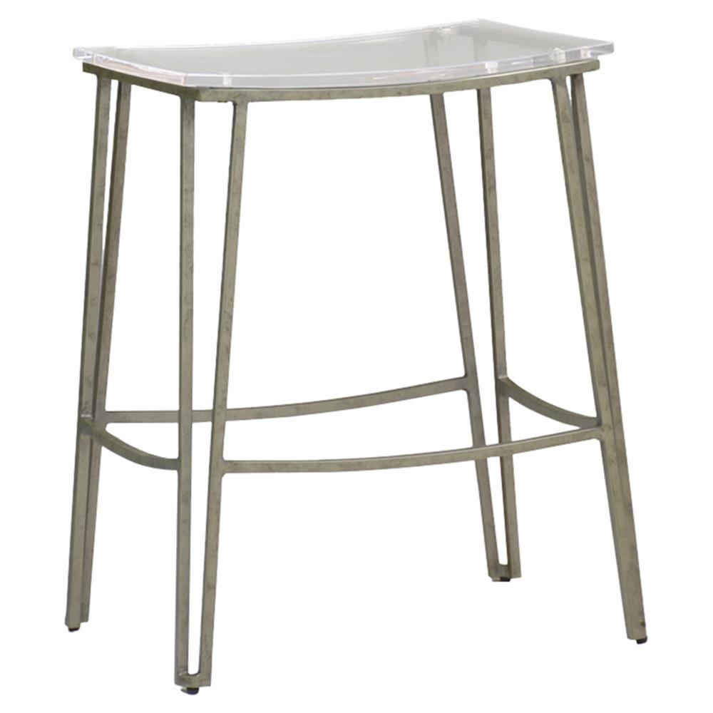 Peter Loft Antique Silver Metal Clear Acrylic Seat Backless Counter Stool Kathy Kuo Home