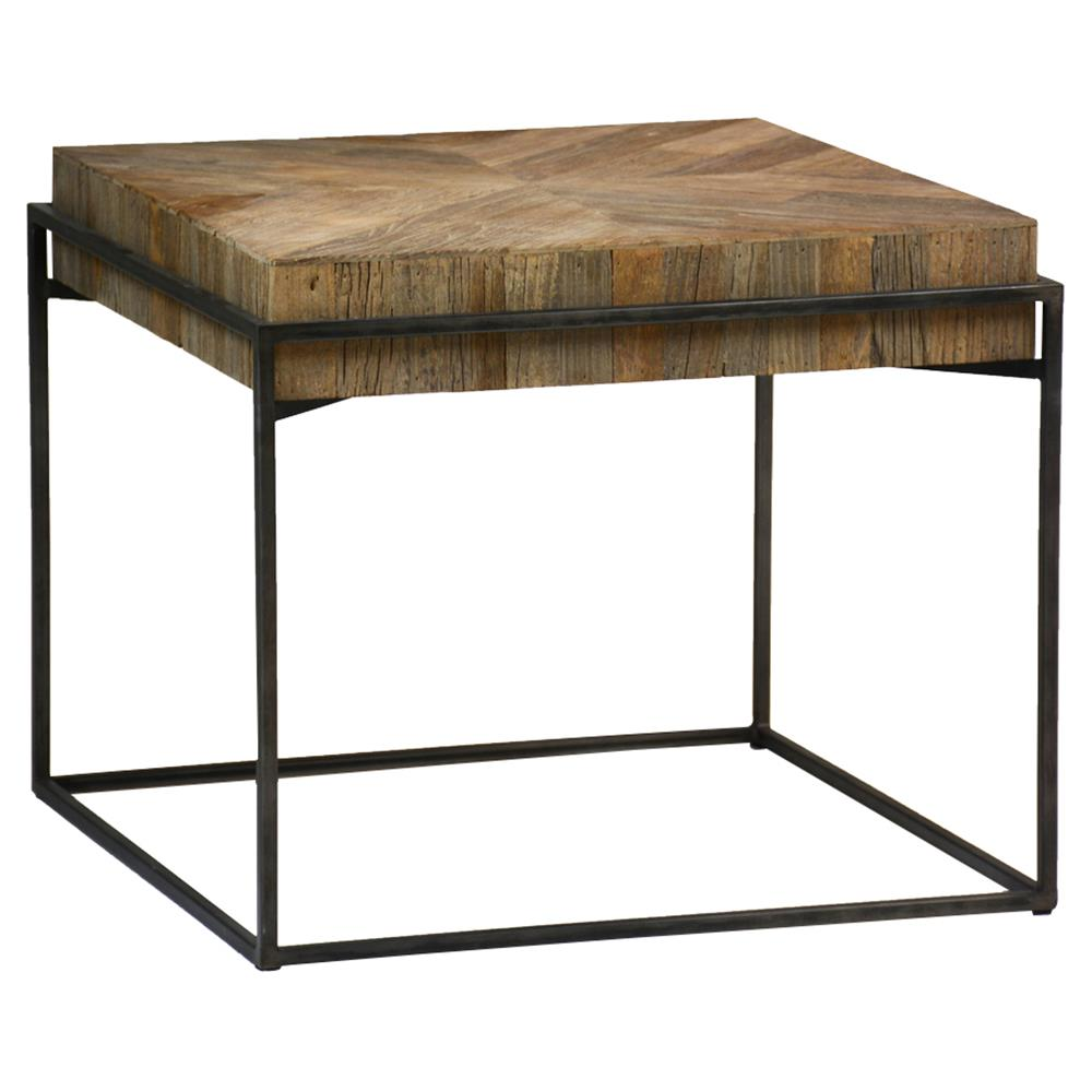 40 Metal Square Coffee Tables: Cynthia Industrial Rustic Reclaimed Wood Top Square Metal