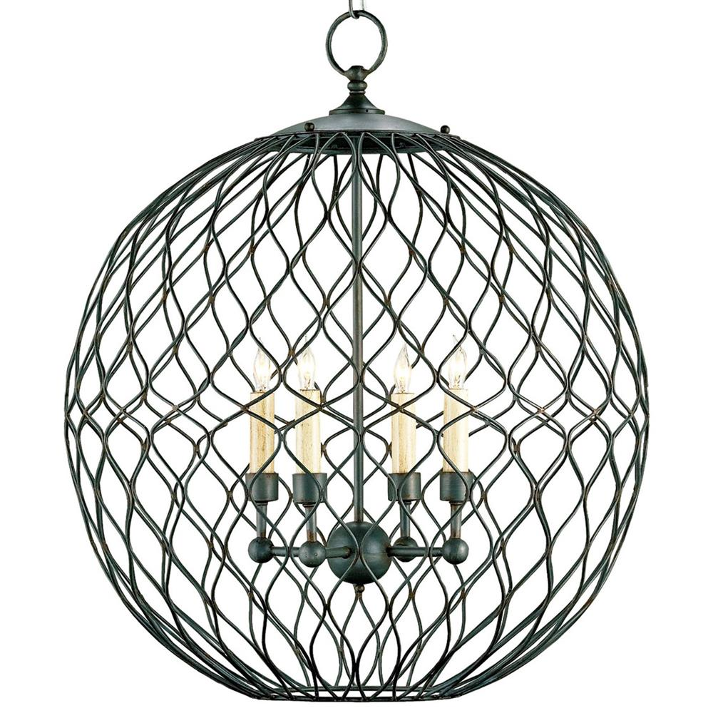 wrought iron petite 4 light ball pendant kathy kuo home. Black Bedroom Furniture Sets. Home Design Ideas