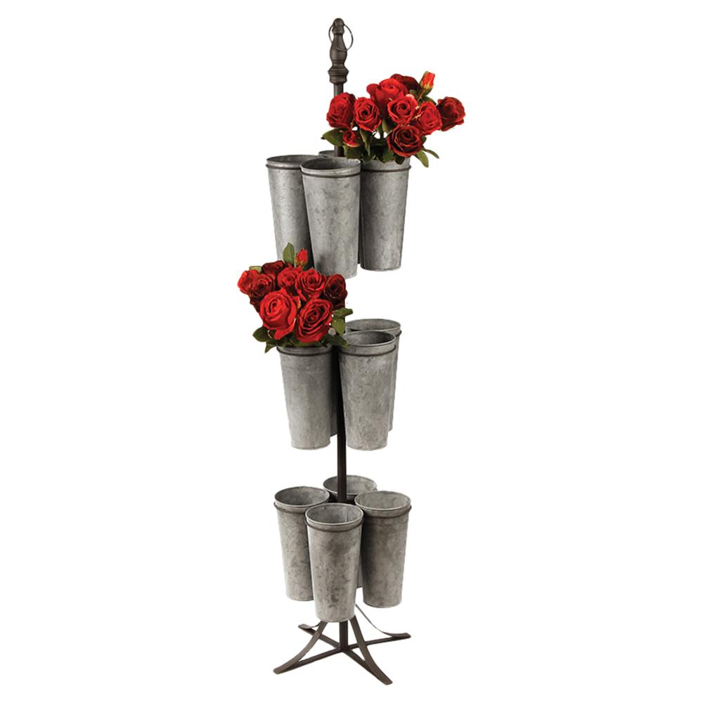 Emma French Country 3-Tier 12 Bucket Galvanized Metal Flower Stand | Kathy Kuo Home
