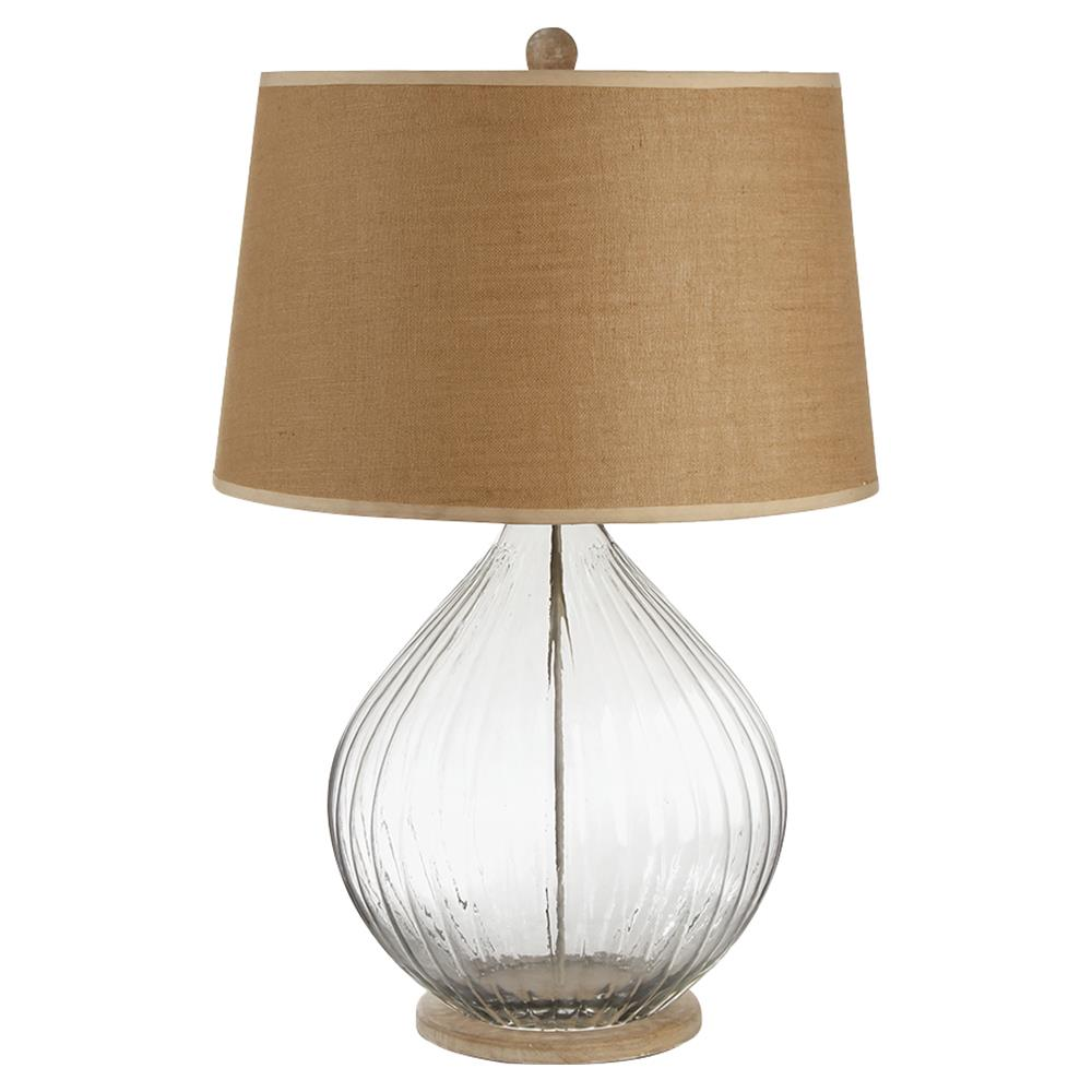 Ember French Country Ribbed Glass Table Lamp With A Burlap Drum Shade