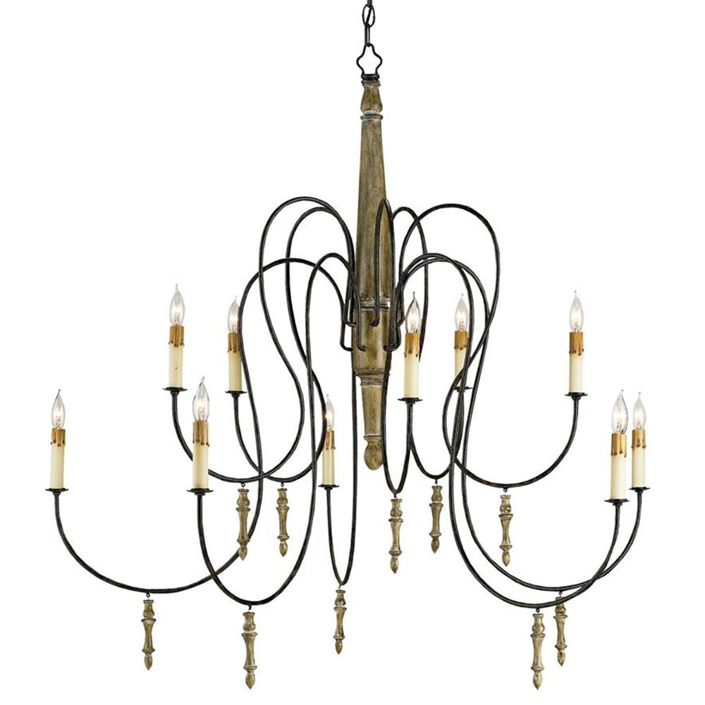 Rouleau Grand Gustavian French Country 10 Light Chandelier