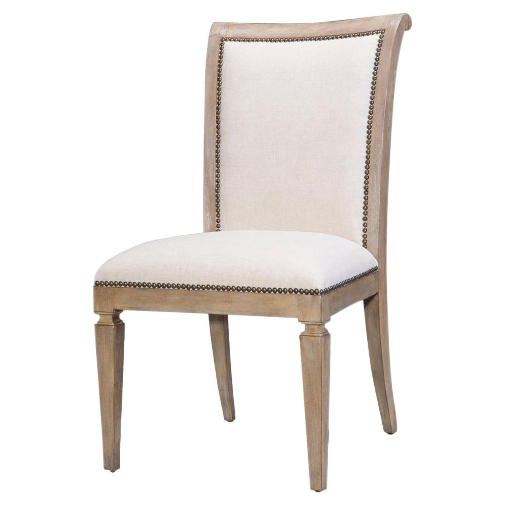 Modern Upholstered Dining Room Chairs: Amelie Modern Classic Beige Upholstered Grey Wood Dining