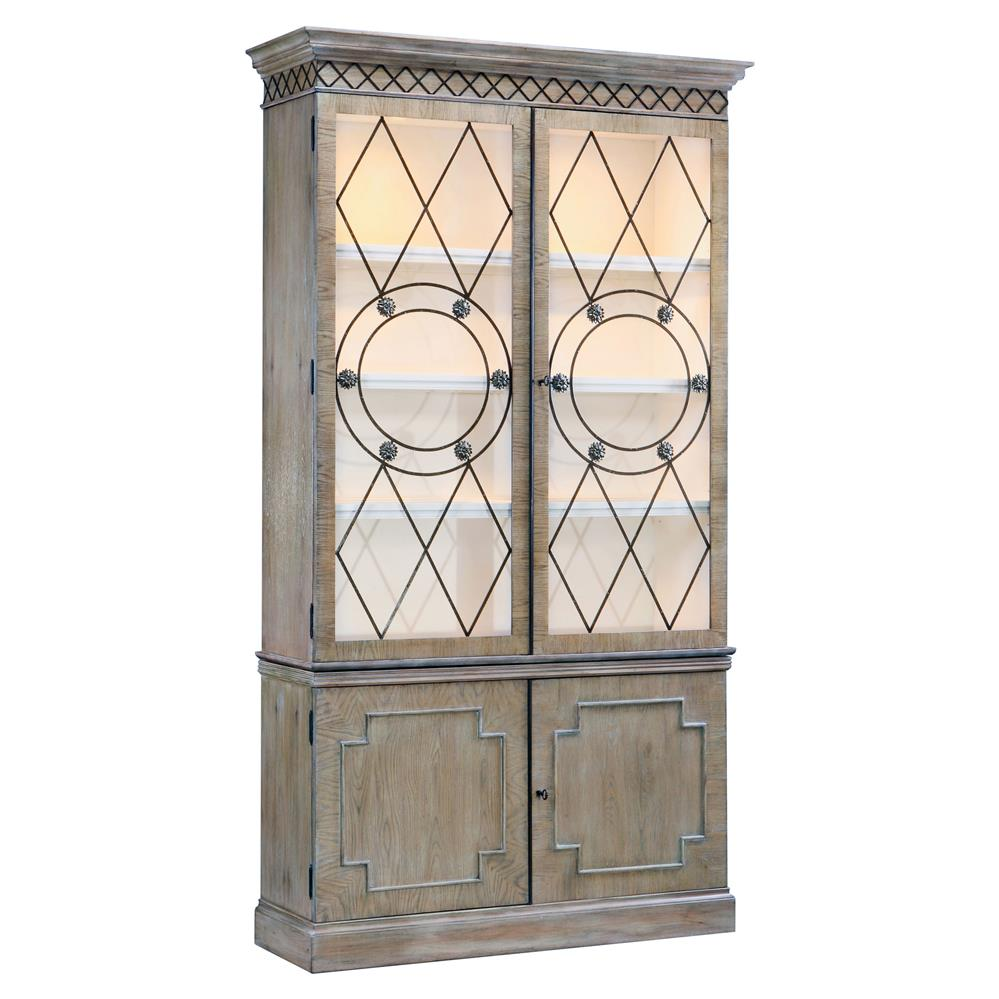Knotted Oak Kitchen Cabinets: Chace Woodland Cabin Brown Knotty Oak Wood China Cabinet