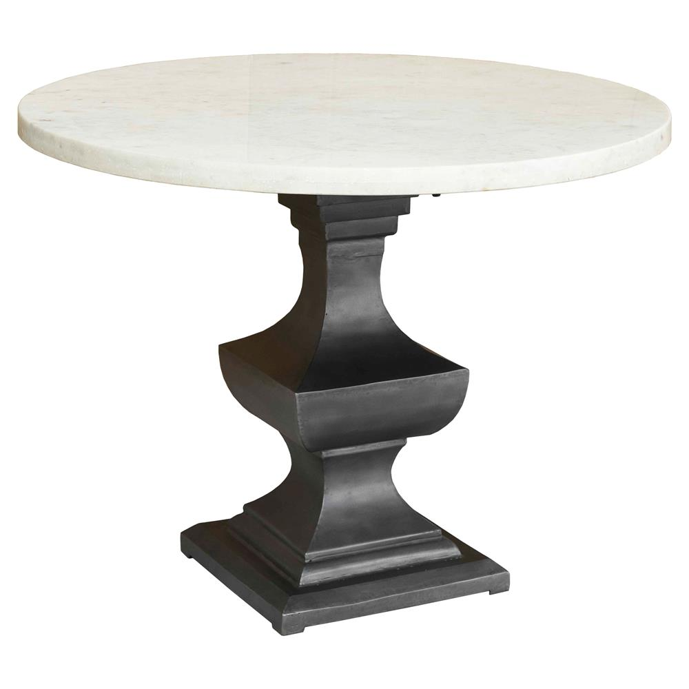 danielle country classic round white marble top metal pedestal dining table. Black Bedroom Furniture Sets. Home Design Ideas
