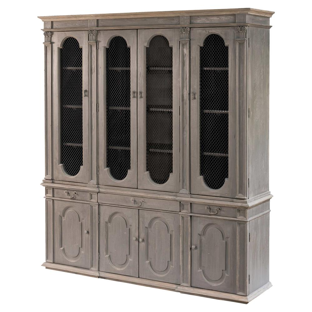 Pine China Cabinet Hutch: Evan French Country Grey Reclaimed Pine Wood China Cabinet
