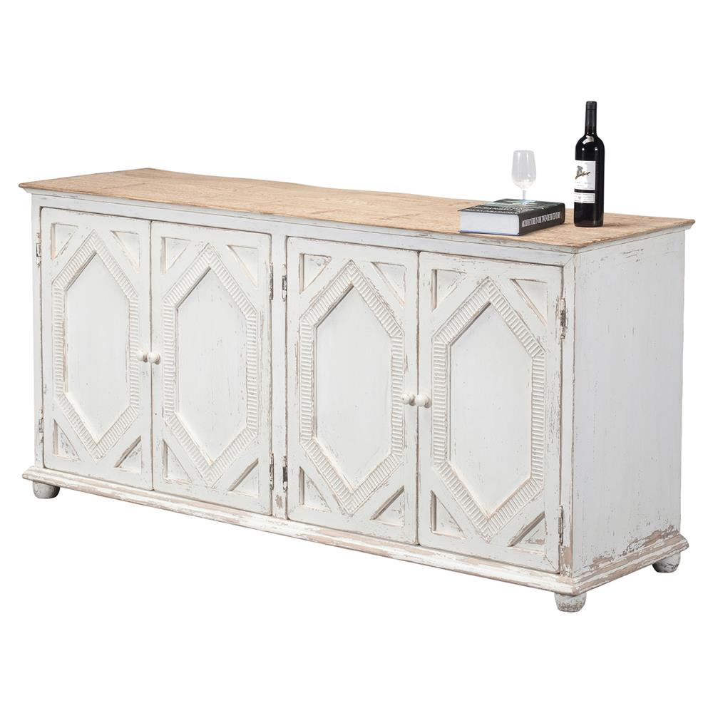 Janvier French Country Rustic White Wood Buffet Sideboard | Kathy Kuo Home