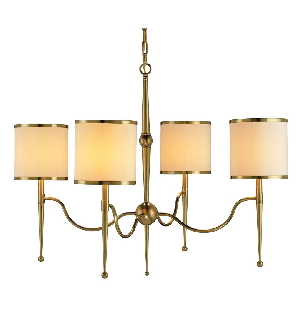primo mid century modern brass cream shade 4 light chandelier. Black Bedroom Furniture Sets. Home Design Ideas