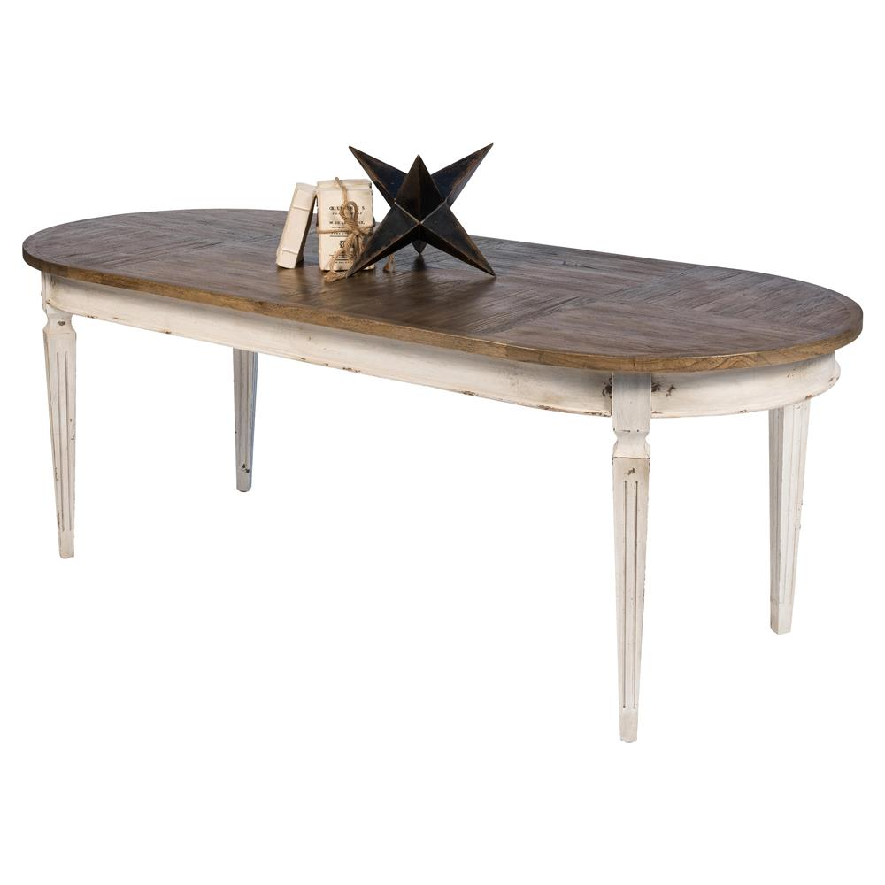 Country White Dining Table: Maliya French Country White Brown Cedar Wood Oval Dining Table