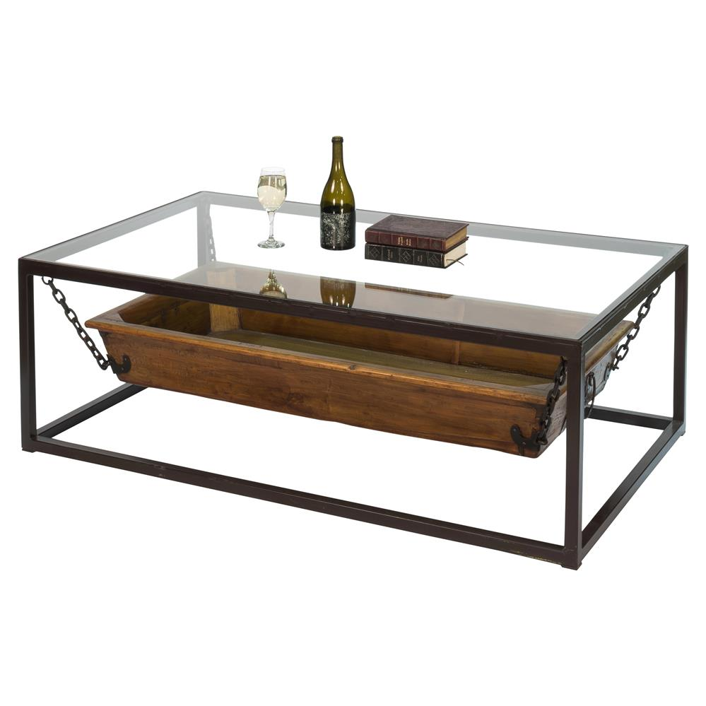 Contemporary Glass Rectangle Coffee Table: Mark Contemporary Rectangular Glass Wood Trough Coffee Table