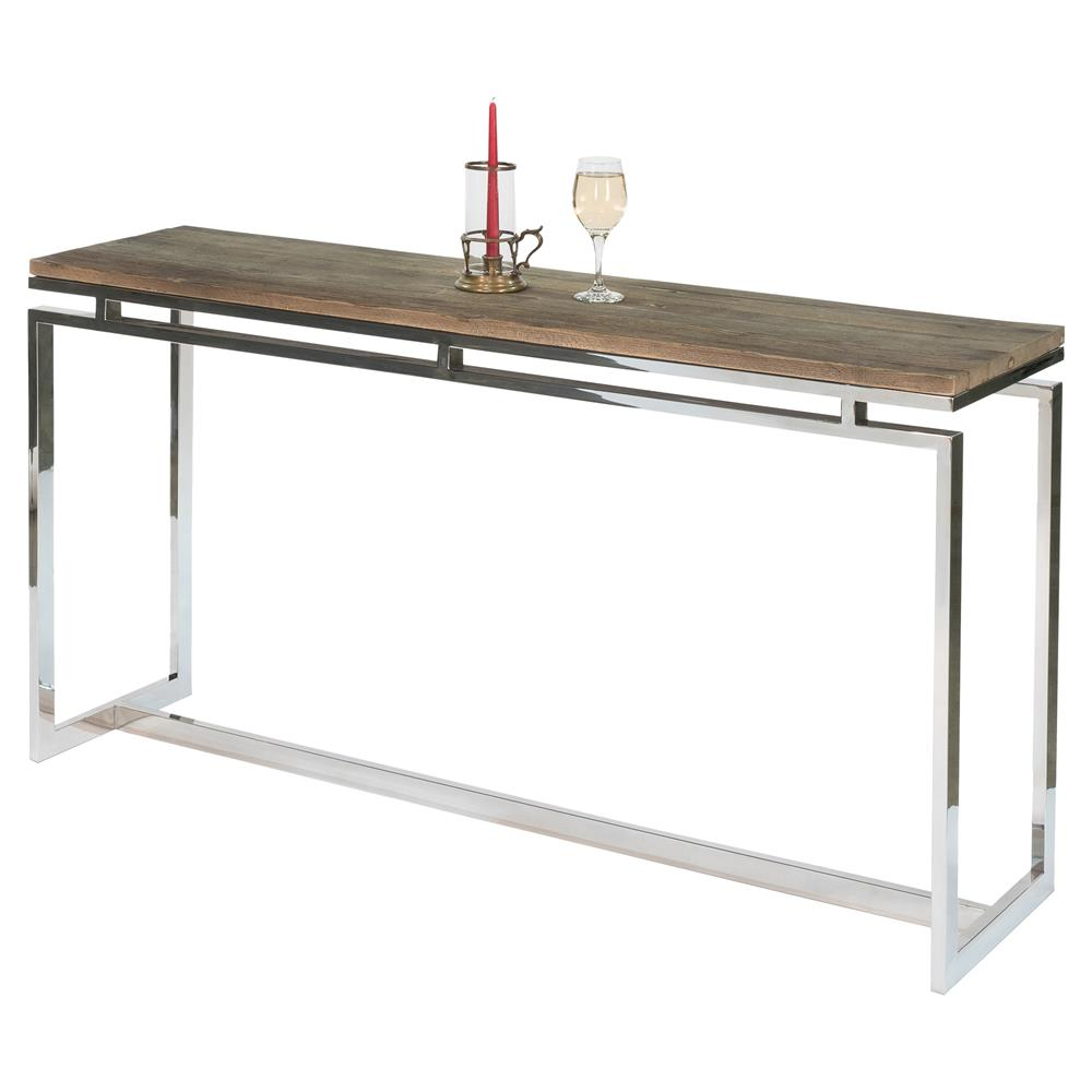 Ryn Modern Rustic Reclaimed Wood Stainless Steel Console Table | Kathy Kuo  Home