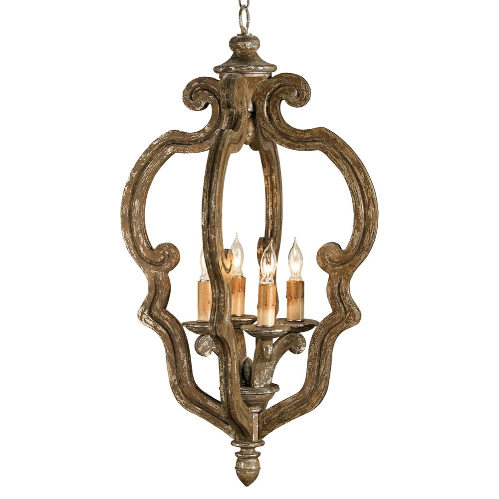 scrollword petite wooden scroll 4 light pendant lantern
