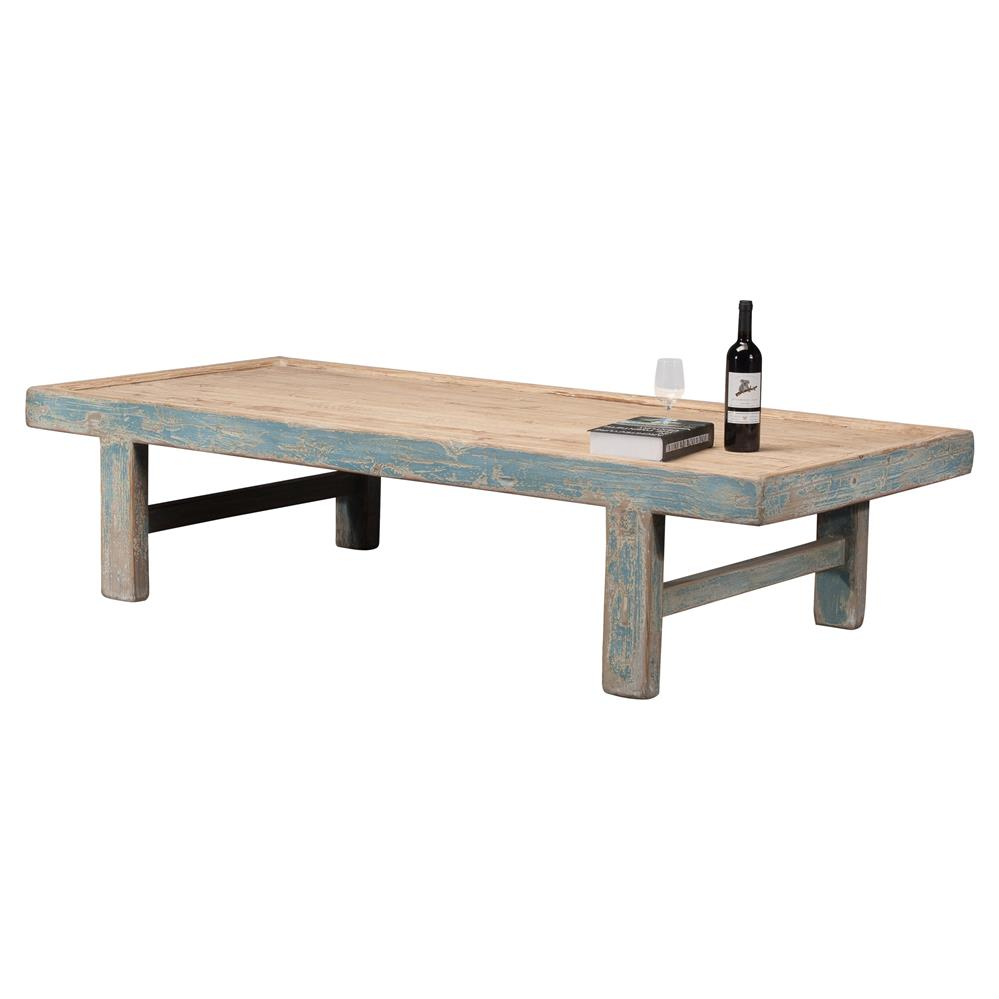 Viel Rustic French Blue Pine Wood Rectangular Coffee Table Kathy Kuo Home