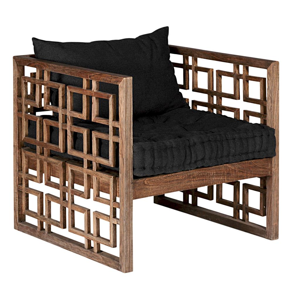 Dunlap Deco Style Geometric Carved Lattice Wood Accent Chair | Kathy Kuo  Home