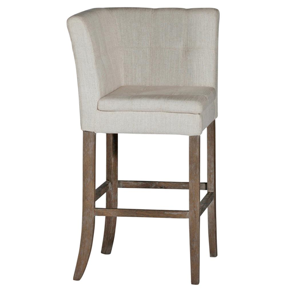 Cooper Tufted Linen Square Back Bar Stool Kathy Kuo Home