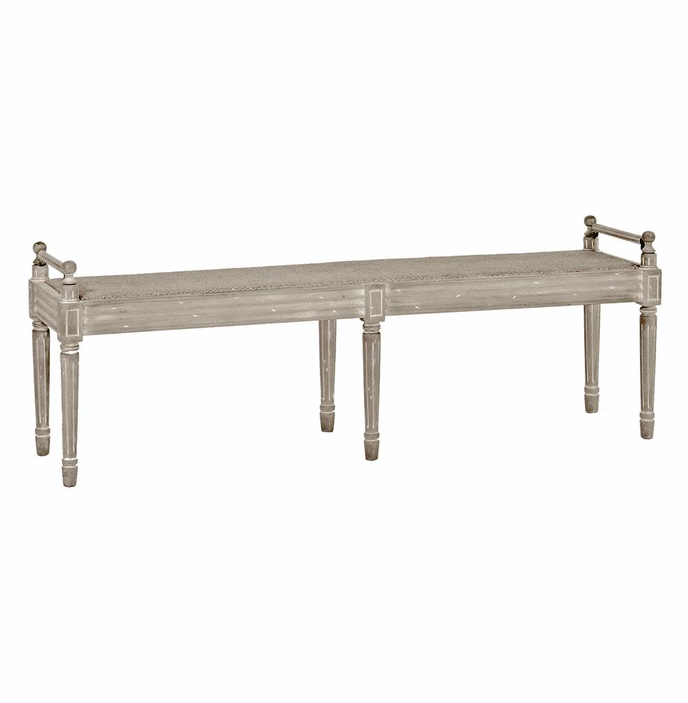Francis Swedish Gustavian White Wash Narrow Caned Bench Kathy Kuo Home