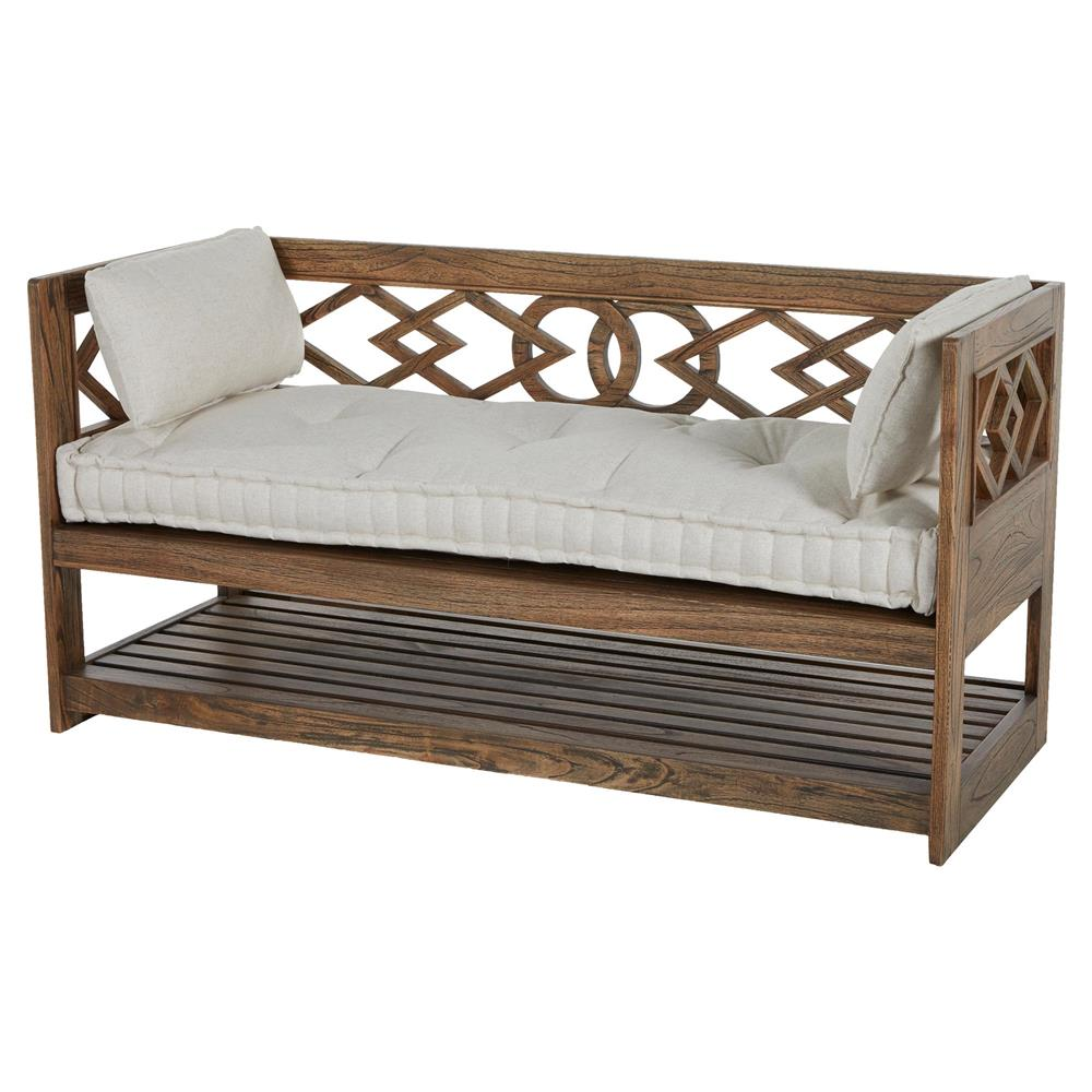 Modena Tufted French Linen Rustic Wood Seating Bench Storage Kathy Kuo Home