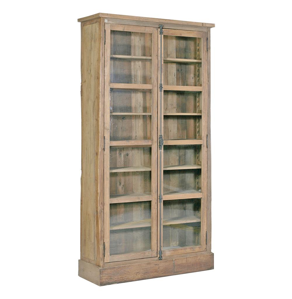 Reclaimed Wood Bookcase ~ Lorraine reclaimed wood french country bookcase cabinet