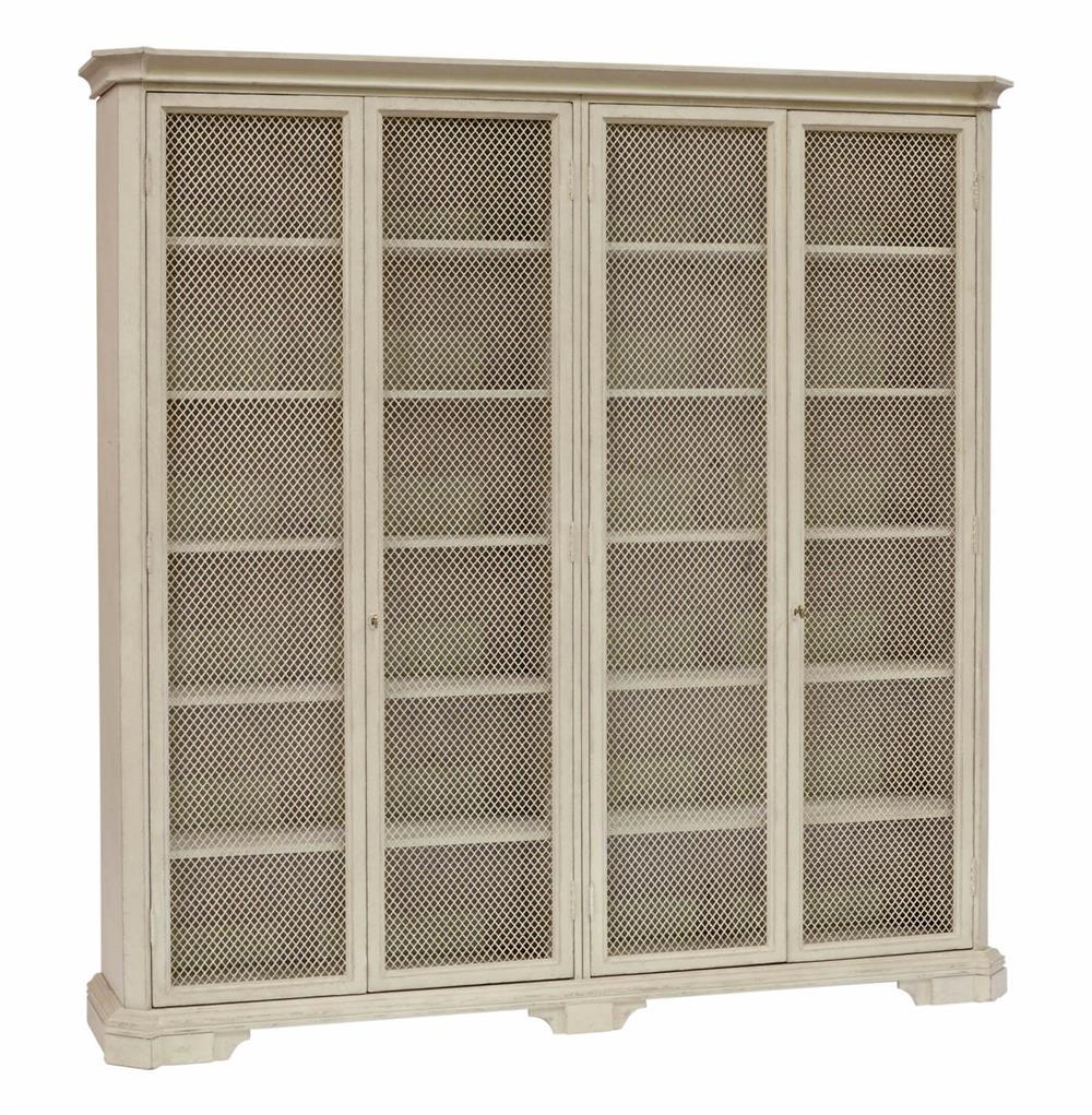 French Country Cabinet Leon Large Antique White Mesh Front French Country Kitchen Cabinet