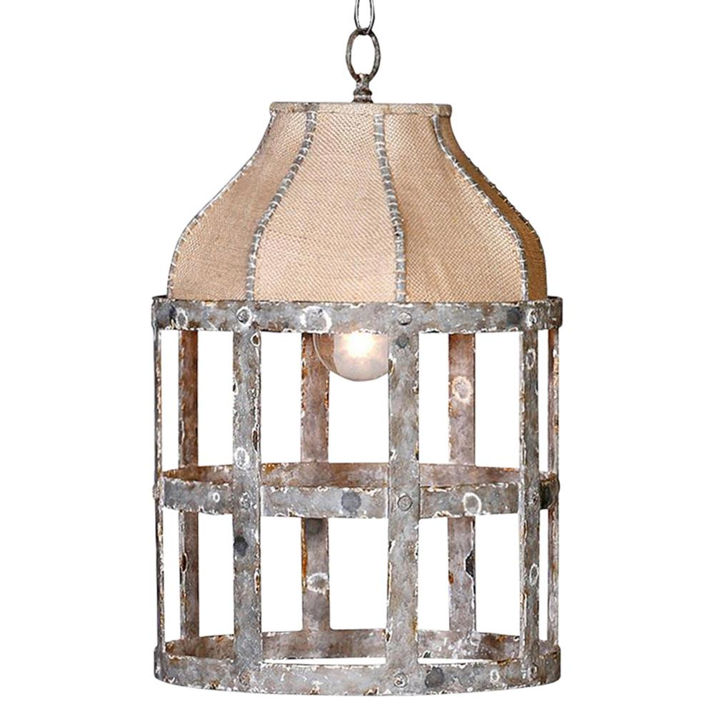 Lucia French Country Cottage Rustic Iron Burlap 1 Light