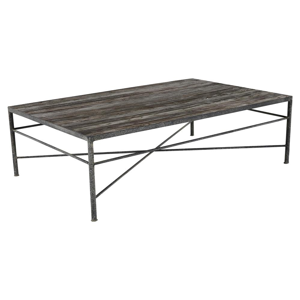 Isabelle reclaimed wood metal modern rustic coffee table kathy kuo home Rustic wood and metal coffee table