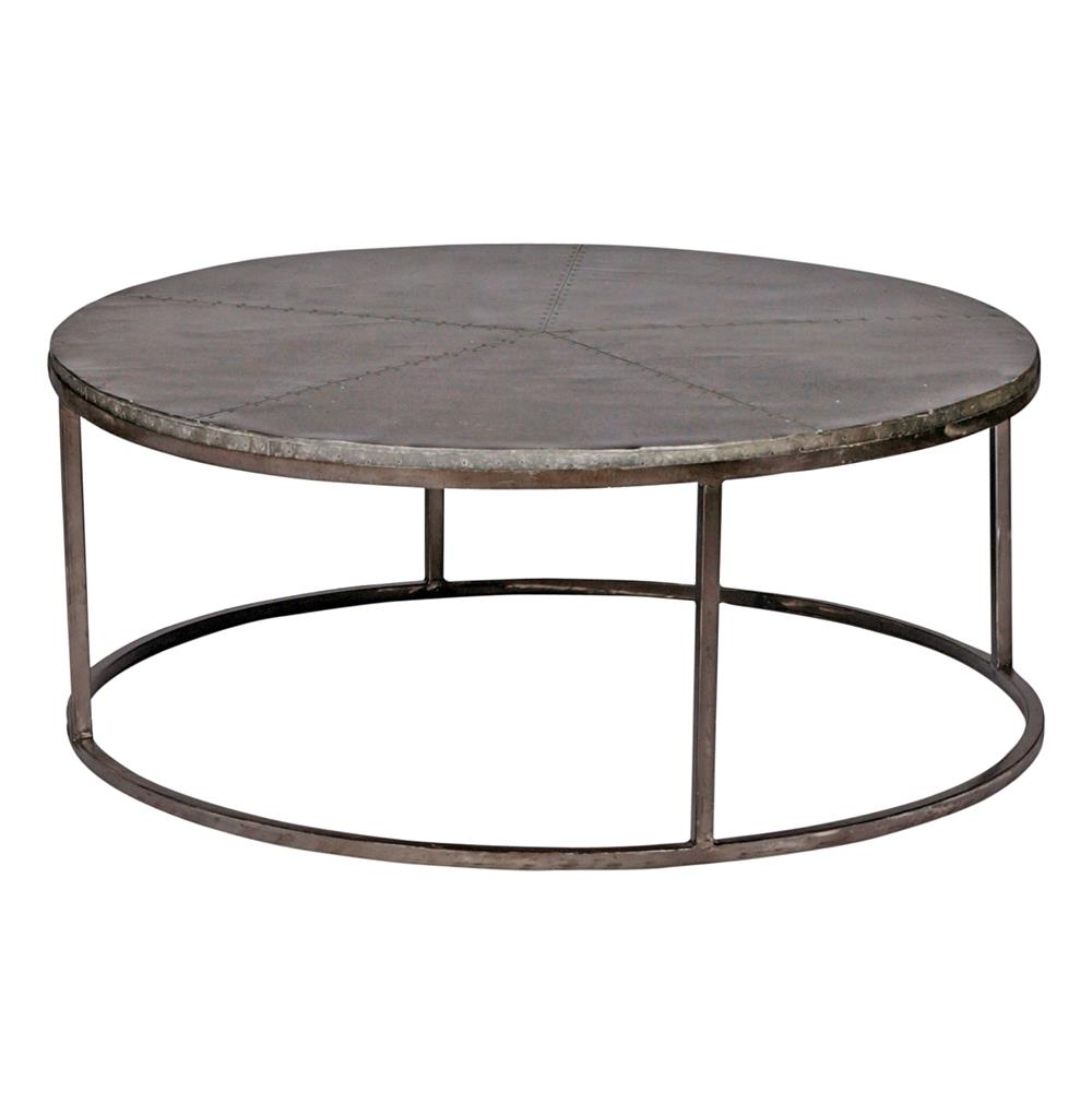 "Industrial Renaissance Outdoor Coffee Table: Hugo Industrial Loft Antique Zinc Hammered 42""D Coffee Table"