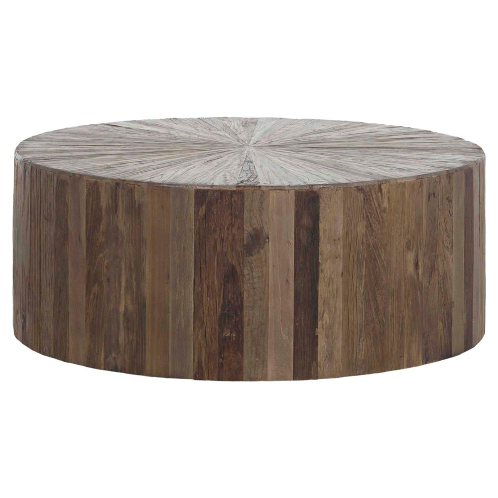 Modern Round Wooden Coffee Table 110: Cyrano Reclaimed Wood Round Drum Modern Eco Coffee Table