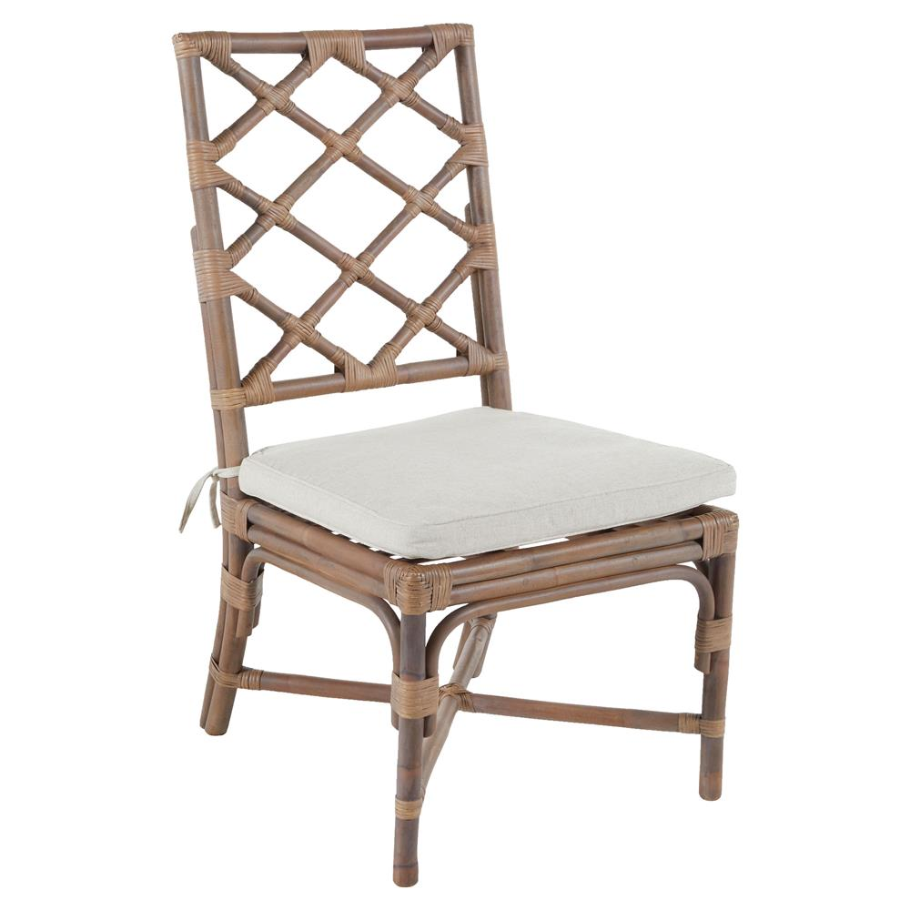 Kennedy Lattice Back Regency Style Linen Rattan Dining Chair