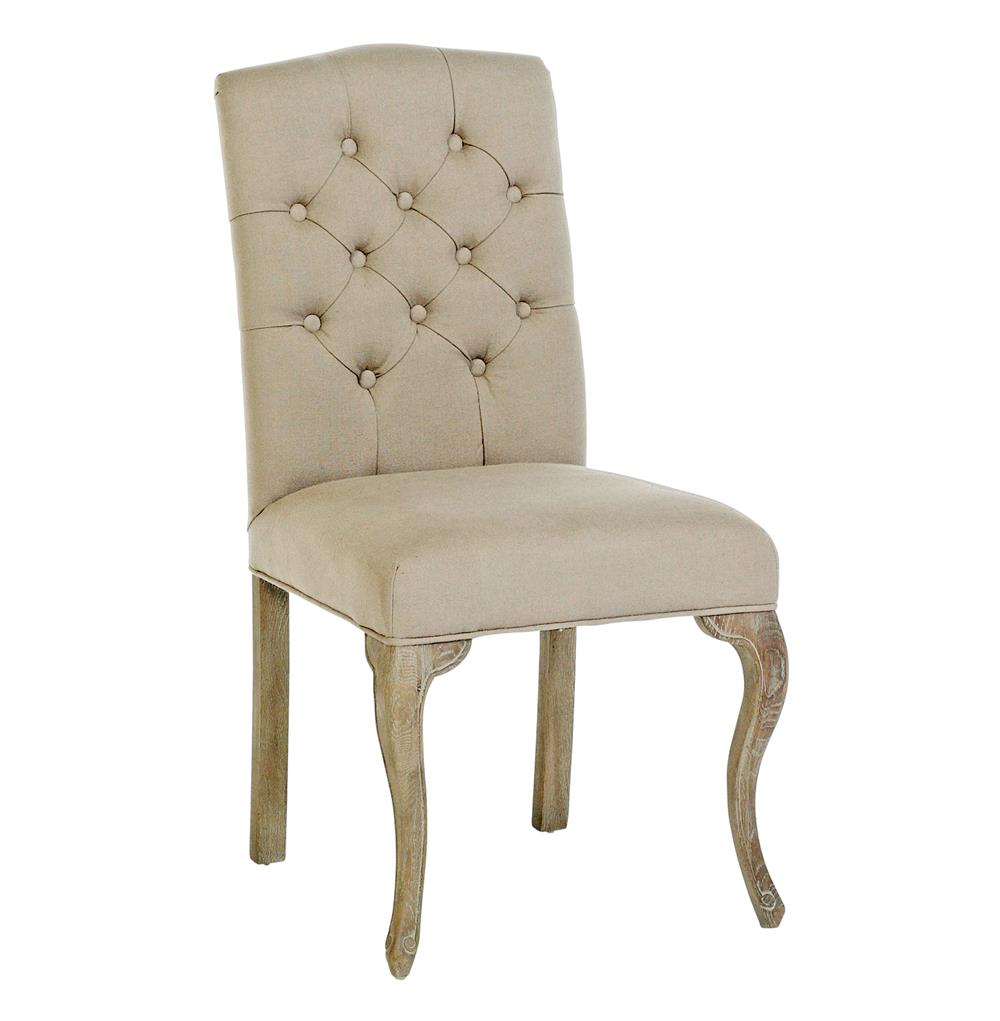 Avignon french country tufted back oak cotton dining for Upholstered tufted dining room chairs