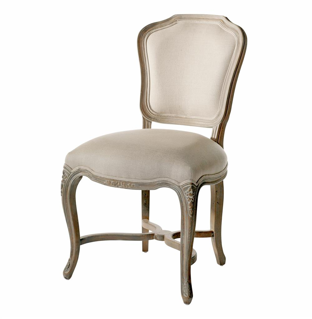 Simone french provincial carved oak linen dining chair for Oak dining chairs