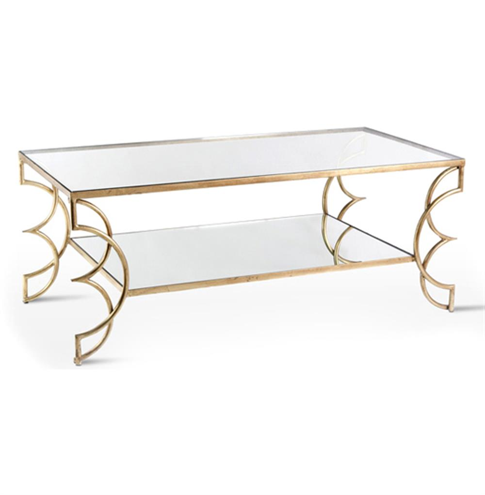 Antique Gold Coffee Table: Ofelia Contemporary Antique Gold Leaf Boutique Coffee
