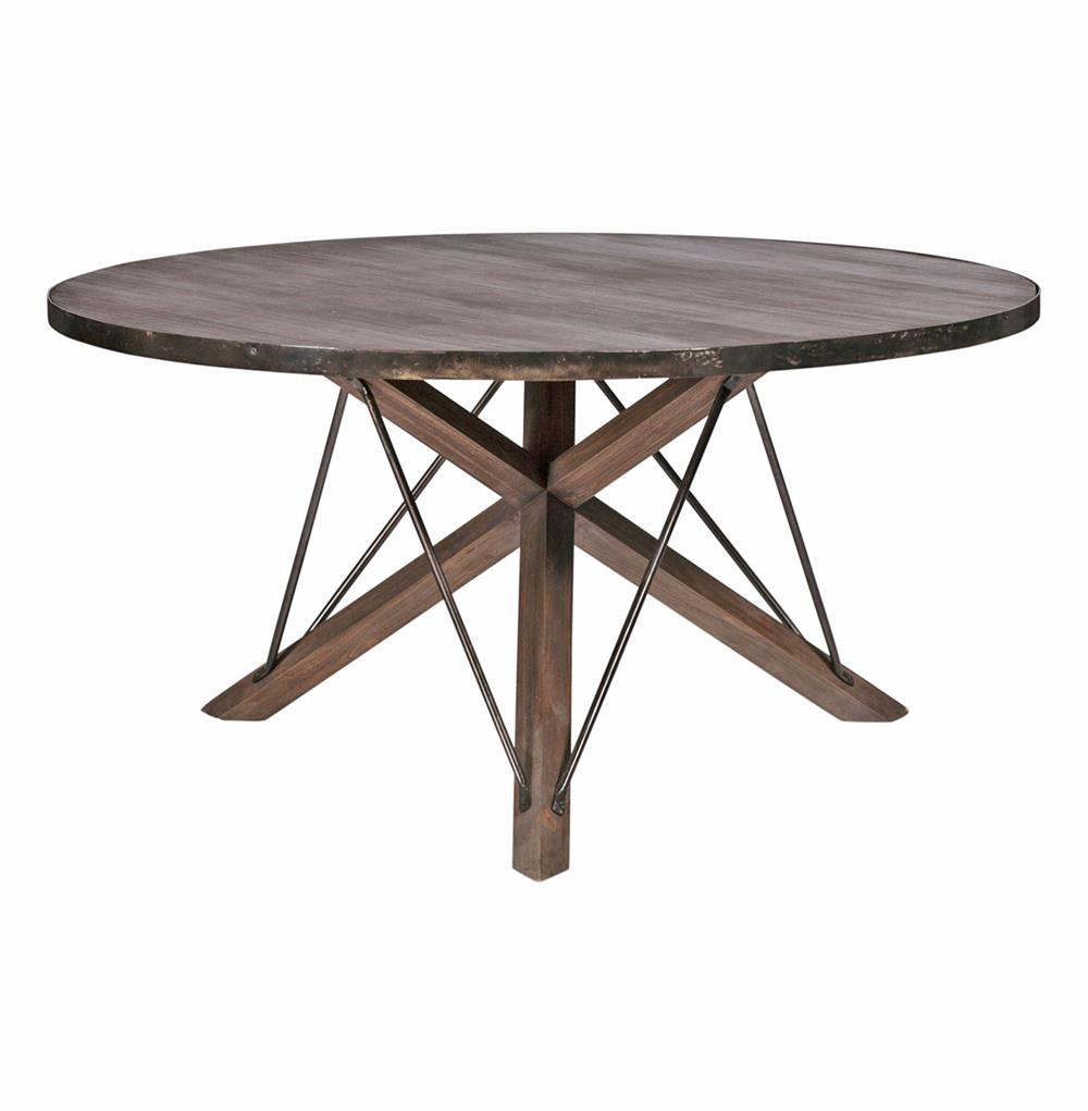 Works industrial loft wood iron modern rustic dining table for Iron dining table