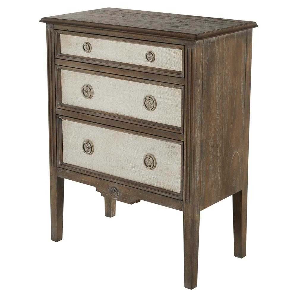 Holly Heavy Distressed Painted Burlap French Country Bedside Chest Kathy Kuo Home