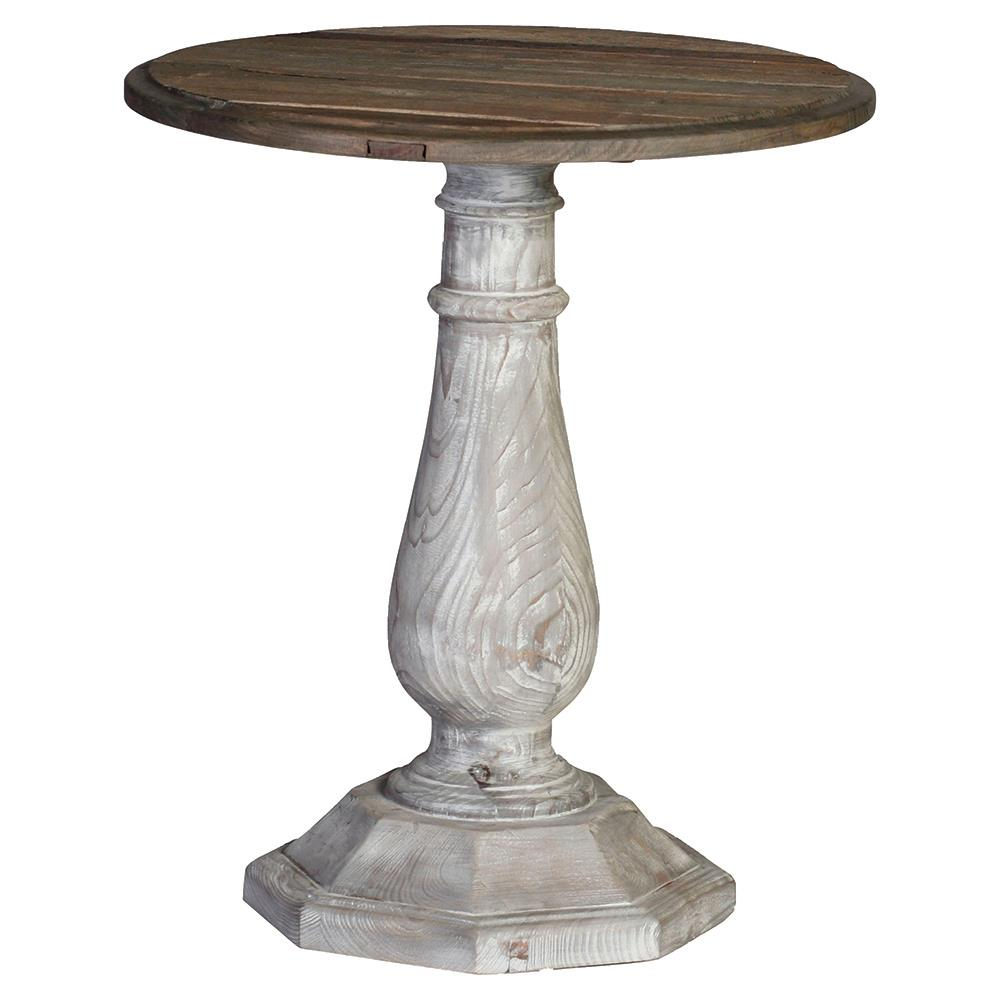 Hayden french country rustic reclaimed wood round side for Rustic side table