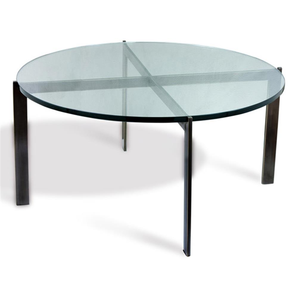 Morandi Modern Oil Rubbed Bronze Round Glass Coffee Table