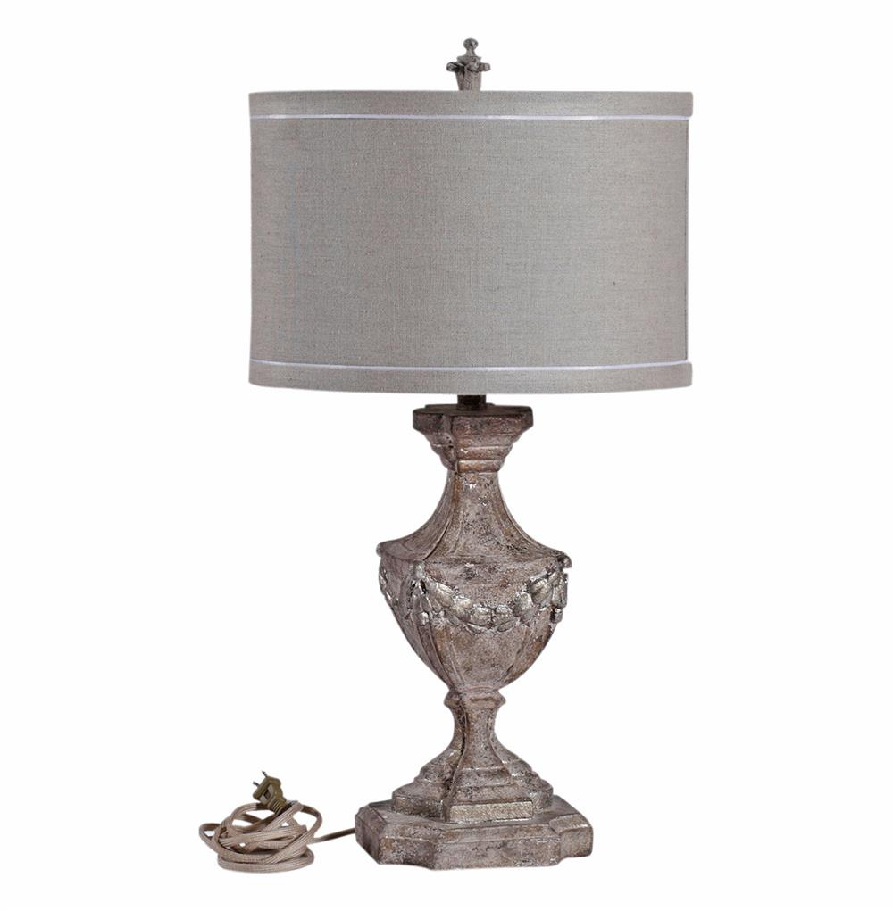 Blair French Country Burlap Shade Rustic Pebbled White