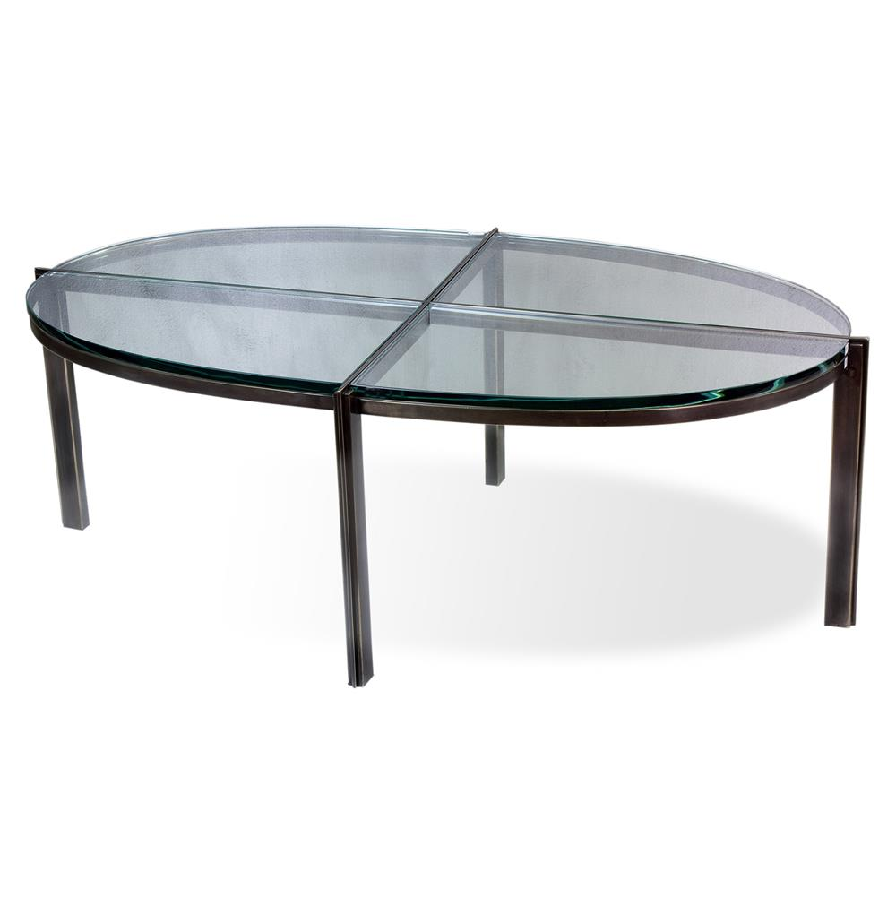 Zula quadrant modern oil rubbed bronze oval glass metal coffee table kathy kuo home Metal and glass coffee table