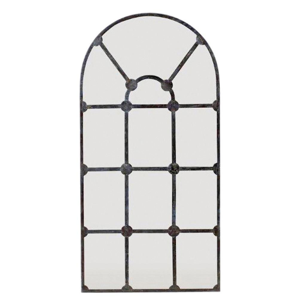 Drake Antique French Window Pane Arched Metal Mirror