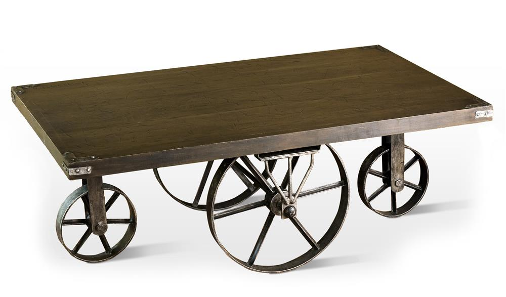 Rustic Antique Merchandise Cart Wagon Wheel Coffee Table Kathy Kuo Home