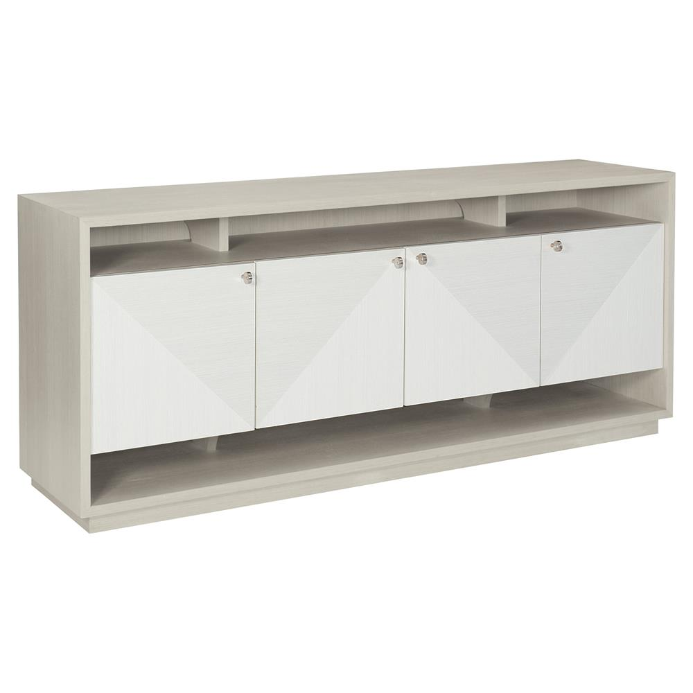 Lucille Modern Clic White Grey Wood Fancy Face Four Door Media Cabinet Kathy Kuo Home