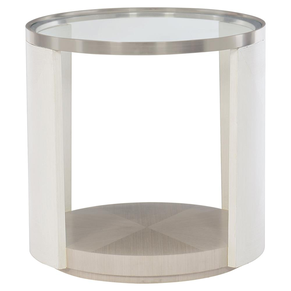 Lucille Modern Clic Round Gl Top White Grey Wood Side Table Kathy Kuo Home