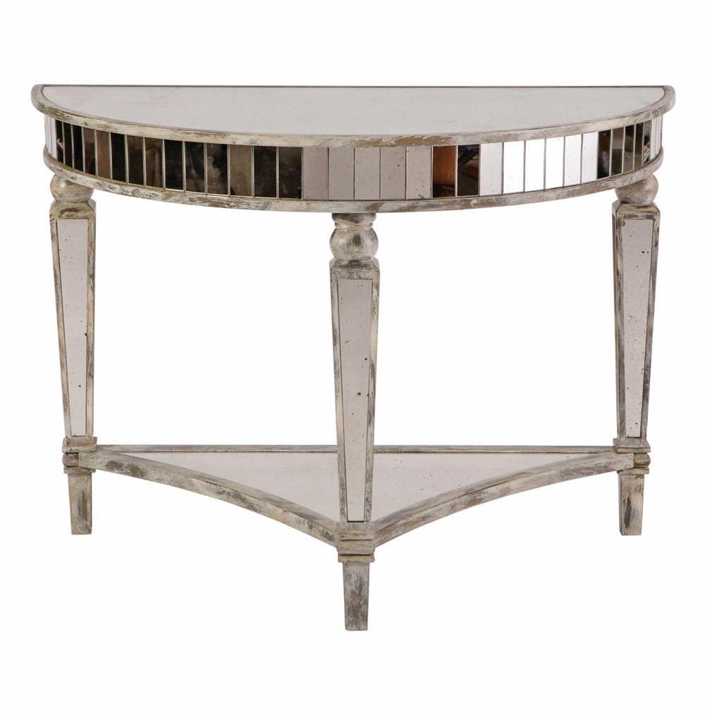 Martine hollywood regency antique mirror white demilune console kathy kuo home White demilune console table