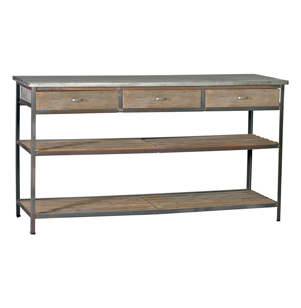 Nicholas Industrial Loft Kitchen Island Console Table With