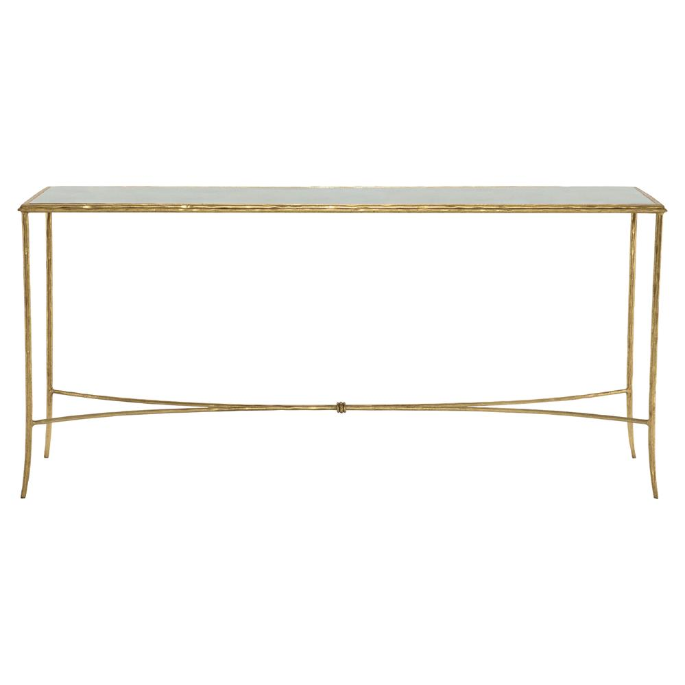 Dugan Hollywood Rectangular Mirror Top Gold Leaf Console Table | Kathy Kuo  Home